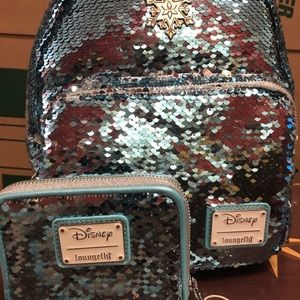 Loungefly Frozen Elsa Sequin Backpack and Wallet